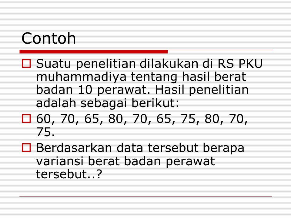 Contoh  Suatu penelitian dilakukan di RS PKU muhammadiya tentang hasil berat badan 10 perawat.