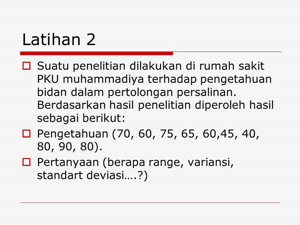 Latihan 2  Suatu penelitian dilakukan di rumah sakit PKU muhammadiya terhadap pengetahuan bidan dalam pertolongan persalinan.