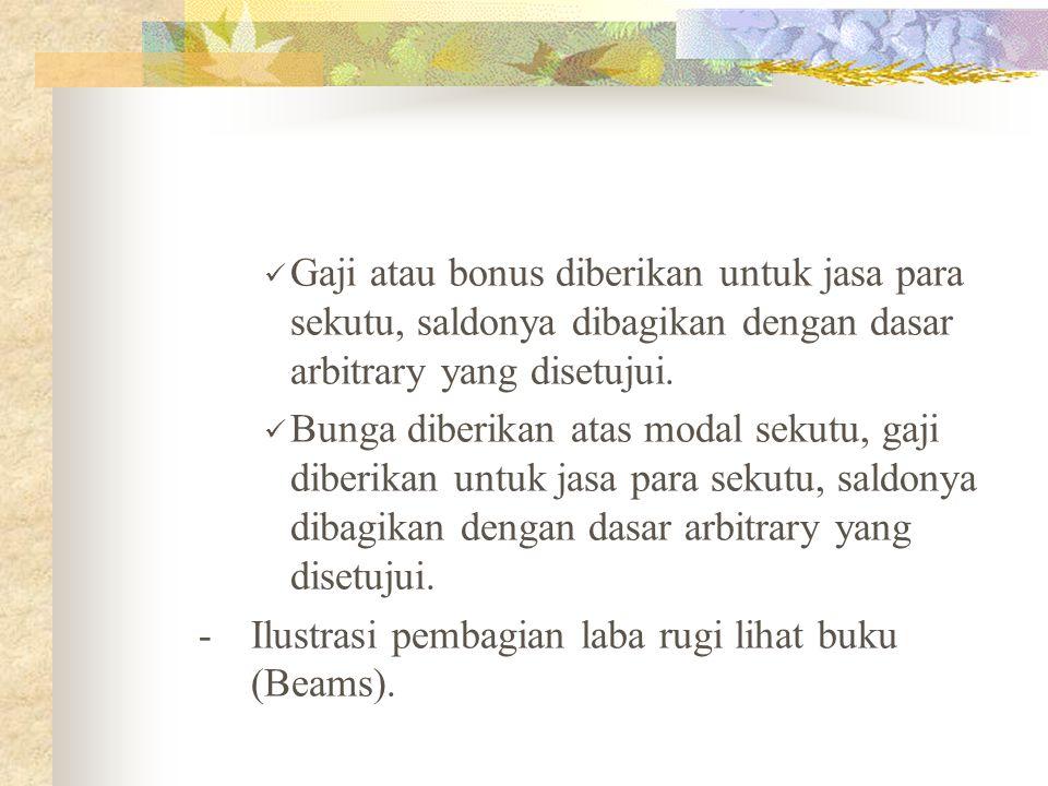 Pembagian Laba Rugi Laba rugi pada umumnya dibagi menurut salah satu dari cara-cara berikut ini : Merata. Dalam rasio arbitrary. Dalam rasio modal par