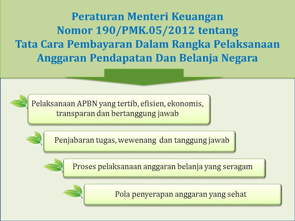 Peraturan Menteri Keuangan Nomor 190/PMK.05/2012 tentang Tata Cara Pembayaran Dalam Rangka Pelaksanaan Anggaran Pendapatan Dan Belanja Negara Pelaksan