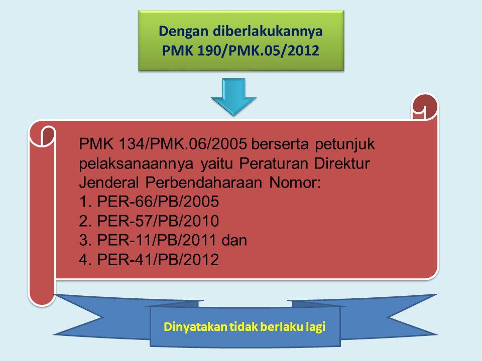 PMK 134/PMK.06/2005 berserta petunjuk pelaksanaannya yaitu Peraturan Direktur Jenderal Perbendaharaan Nomor: 1.PER-66/PB/2005 2.PER-57/PB/2010 3.PER-1