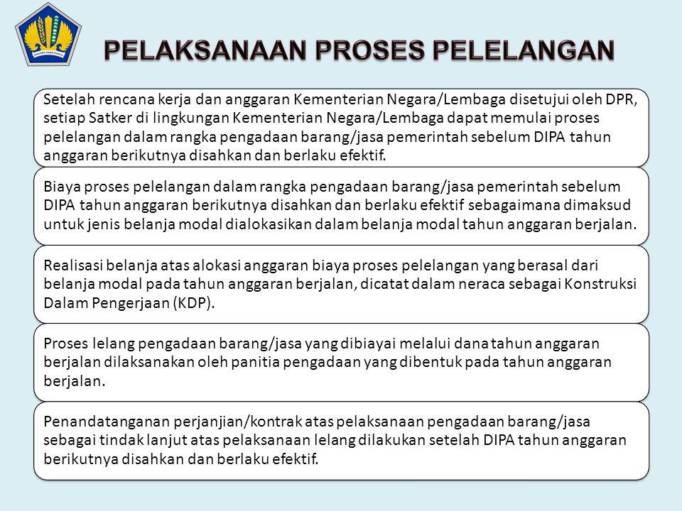 Setelah rencana kerja dan anggaran Kementerian Negara/Lembaga disetujui oleh DPR, setiap Satker di lingkungan Kementerian Negara/Lembaga dapat memulai