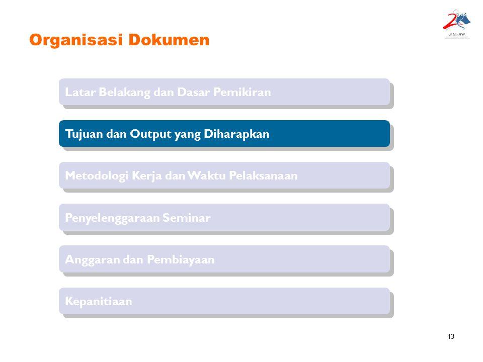 13 Organisasi Dokumen Latar Belakang dan Dasar Pemikiran Tujuan dan Output yang Diharapkan Penyelenggaraan Seminar Metodologi Kerja dan Waktu Pelaksan