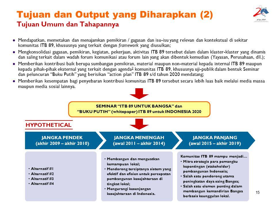 15 Tujuan dan Output yang Diharapkan (2) Tujuan Umum dan Tahapannya Mendapatkan, memetakan dan menajamkan pemikiran / gagasan dan isu-isu yang relevan