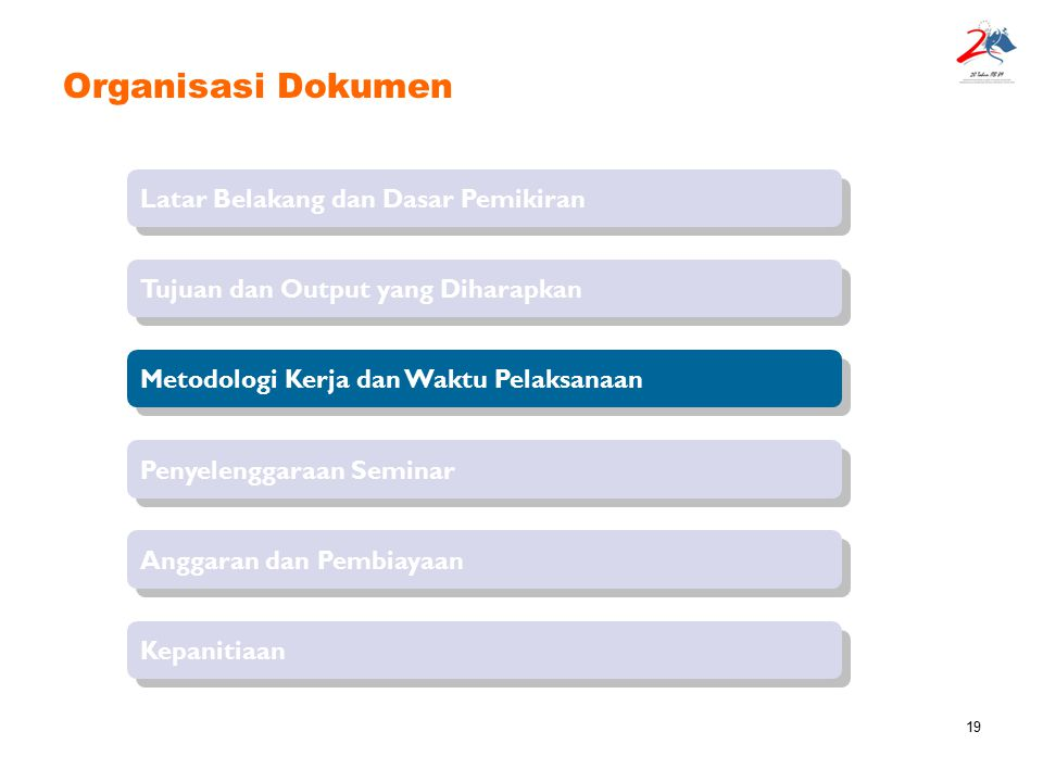 19 Organisasi Dokumen Latar Belakang dan Dasar Pemikiran Tujuan dan Output yang Diharapkan Penyelenggaraan Seminar Metodologi Kerja dan Waktu Pelaksan