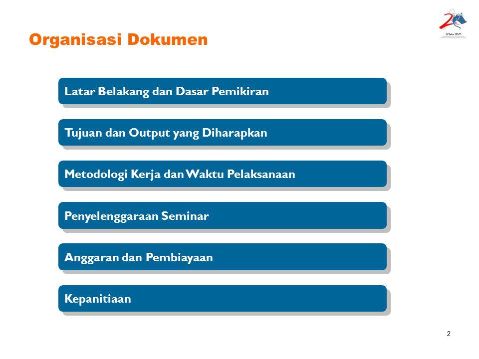 13 Organisasi Dokumen Latar Belakang dan Dasar Pemikiran Tujuan dan Output yang Diharapkan Penyelenggaraan Seminar Metodologi Kerja dan Waktu Pelaksanaan Anggaran dan Pembiayaan Kepanitiaan
