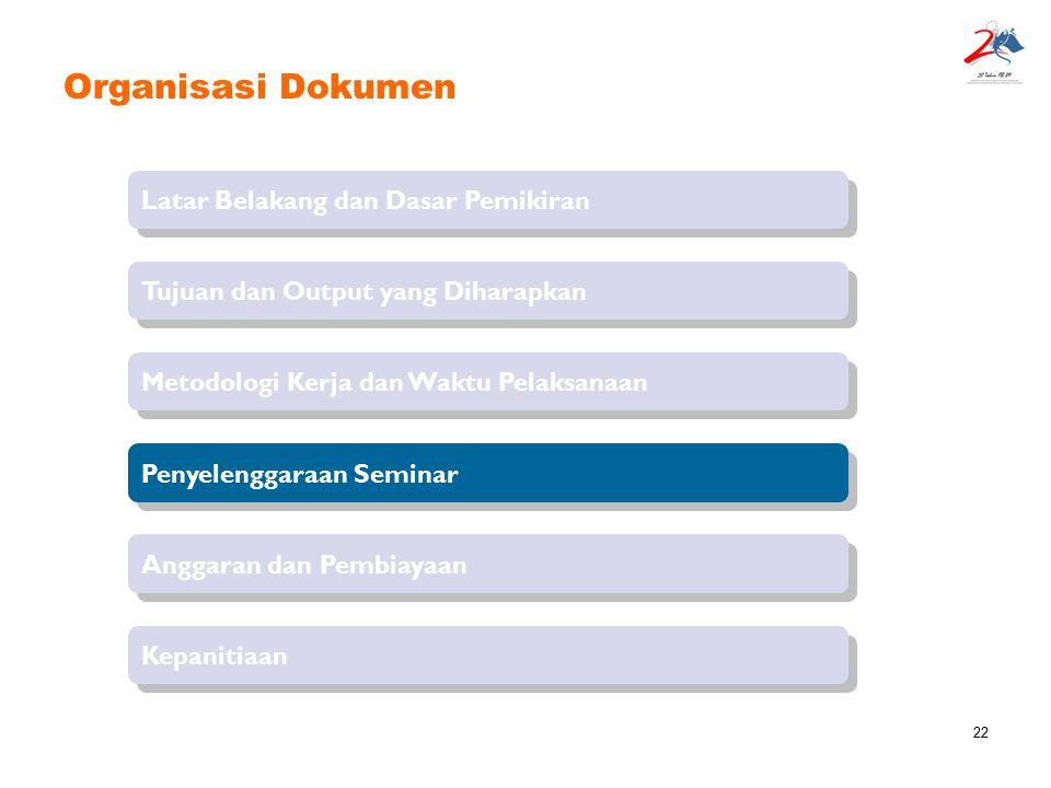 22 Organisasi Dokumen Latar Belakang dan Dasar Pemikiran Tujuan dan Output yang Diharapkan Penyelenggaraan Seminar Metodologi Kerja dan Waktu Pelaksan
