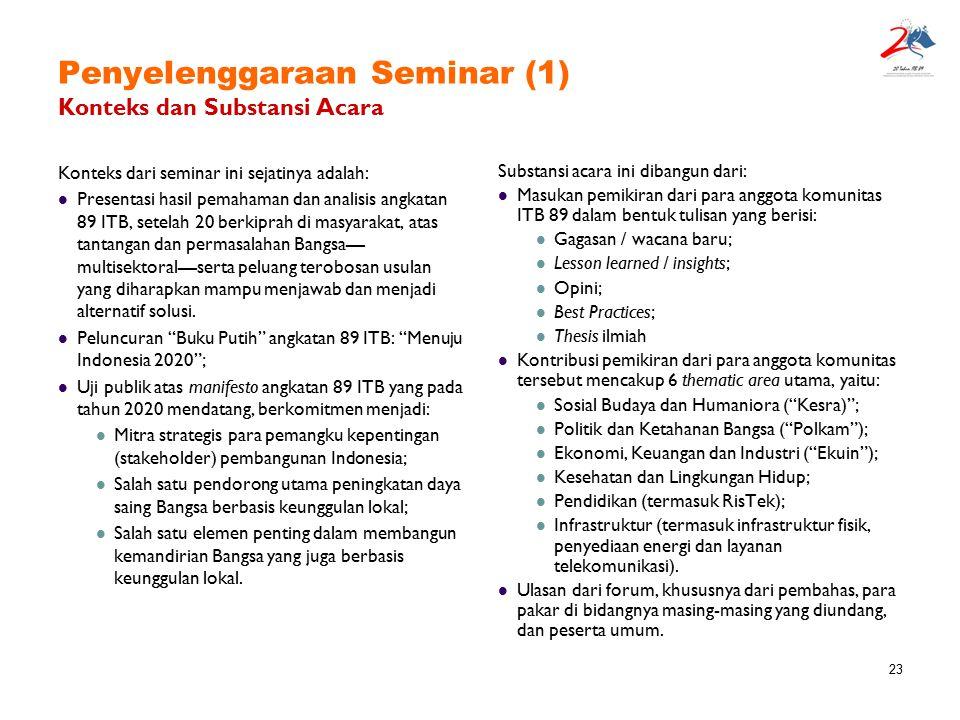23 Penyelenggaraan Seminar (1) Konteks dan Substansi Acara Konteks dari seminar ini sejatinya adalah: Presentasi hasil pemahaman dan analisis angkatan