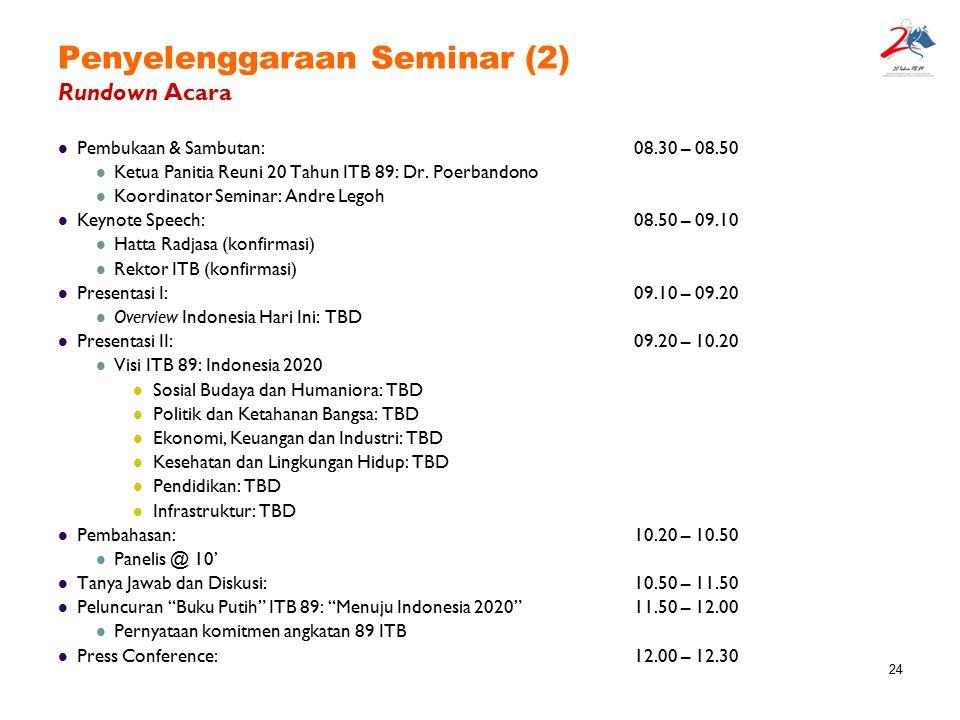 24 Penyelenggaraan Seminar (2) Rundown Acara Pembukaan & Sambutan:08.30 – 08.50 Ketua Panitia Reuni 20 Tahun ITB 89: Dr. Poerbandono Koordinator Semin