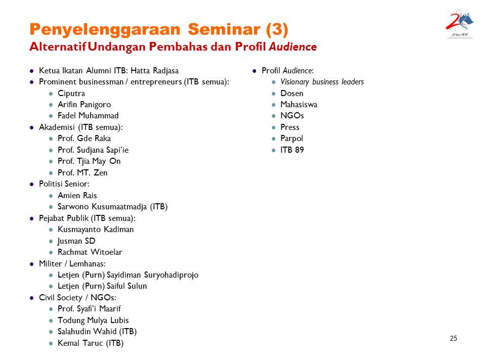 25 Penyelenggaraan Seminar (3) Alternatif Undangan Pembahas dan Profil Audience Ketua Ikatan Alumni ITB: Hatta Radjasa Prominent businessman / entrepr