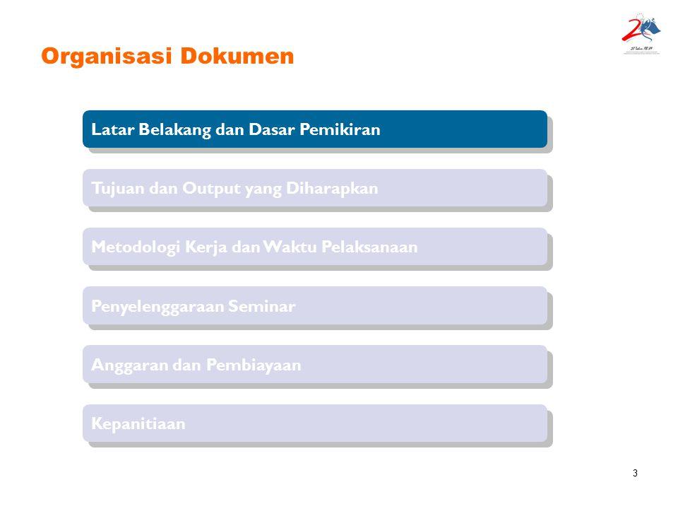 3 Organisasi Dokumen Latar Belakang dan Dasar Pemikiran Tujuan dan Output yang Diharapkan Penyelenggaraan Seminar Metodologi Kerja dan Waktu Pelaksana