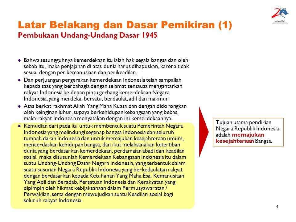 4 Latar Belakang dan Dasar Pemikiran (1) Pembukaan Undang-Undang Dasar 1945 Bahwa sesungguhnya kemerdekaan itu ialah hak segala bangsa dan oleh sebab