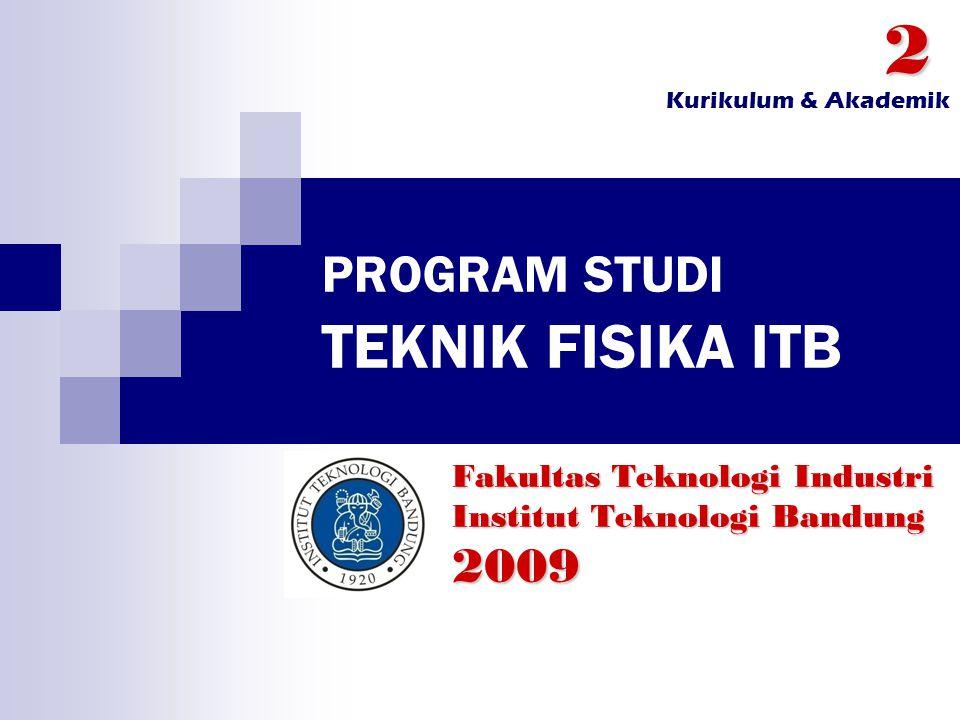 PROGRAM STUDI TEKNIK FISIKA ITB Fakultas Teknologi Industri Institut Teknologi Bandung 20092 Kurikulum & Akademik
