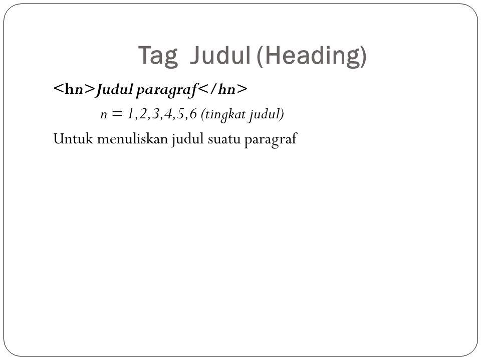 Tag Judul (Heading) Judul paragraf n = 1,2,3,4,5,6 (tingkat judul) Untuk menuliskan judul suatu paragraf