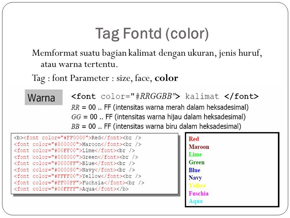 Tag Fontd (color) Memformat suatu bagian kalimat dengan ukuran, jenis huruf, atau warna tertentu. Tag : font Parameter : size, face, color