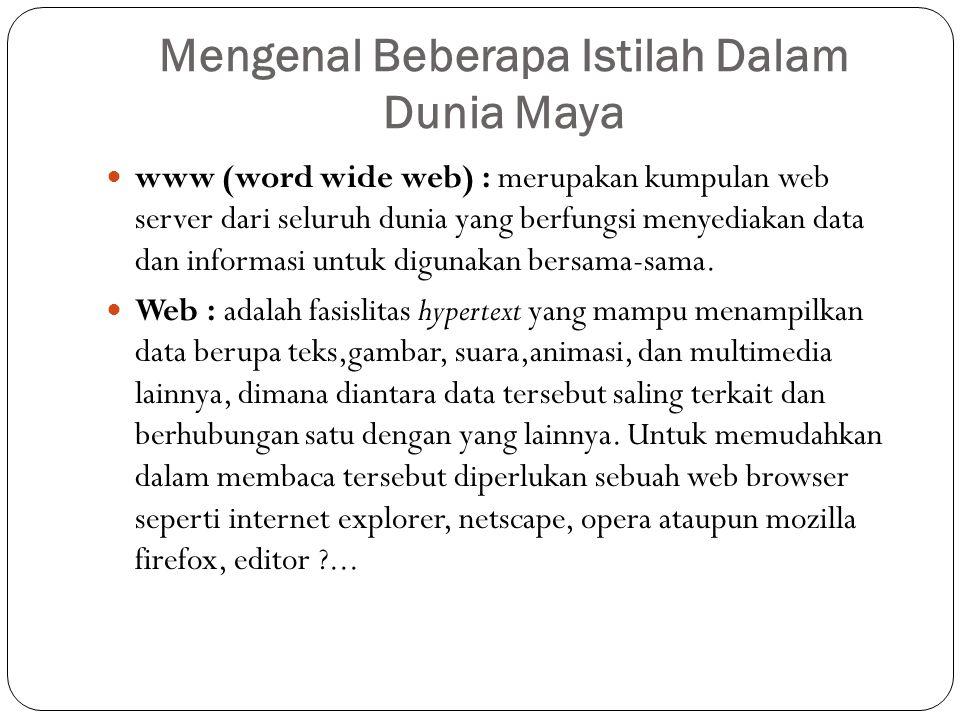 Mengenal Beberapa Istilah Dalam Dunia Maya www (word wide web) : merupakan kumpulan web server dari seluruh dunia yang berfungsi menyediakan data dan