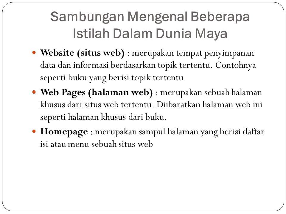 Sambungan Mengenal Beberapa Istilah Dalam Dunia Maya Website (situs web) : merupakan tempat penyimpanan data dan informasi berdasarkan topik tertentu.