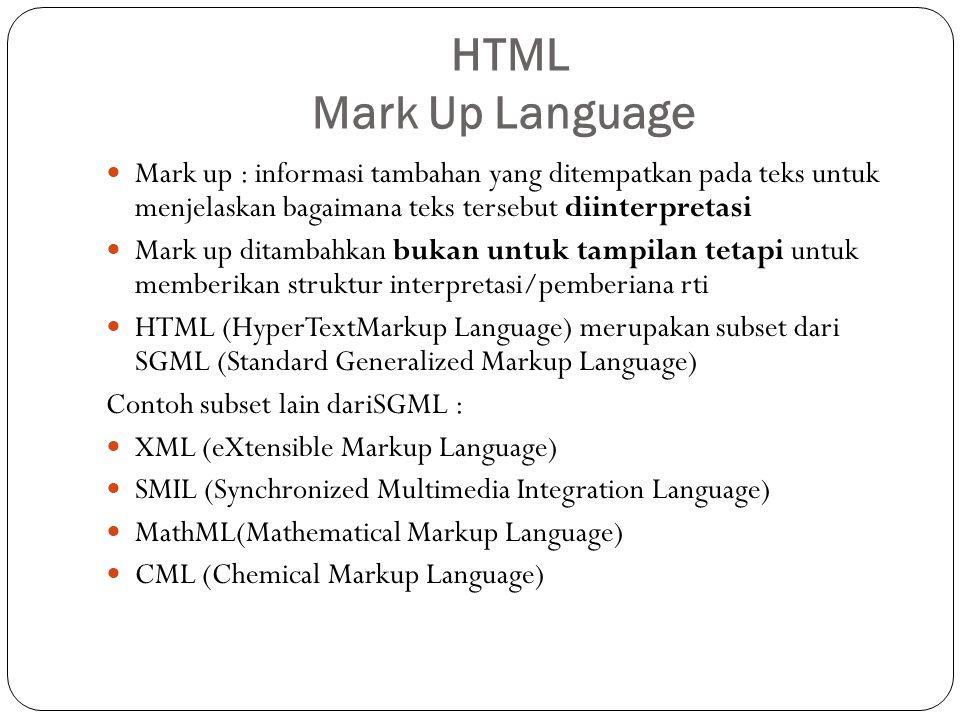 HTML Mark Up Language Mark up : informasi tambahan yang ditempatkan pada teks untuk menjelaskan bagaimana teks tersebut diinterpretasi Mark up ditamba