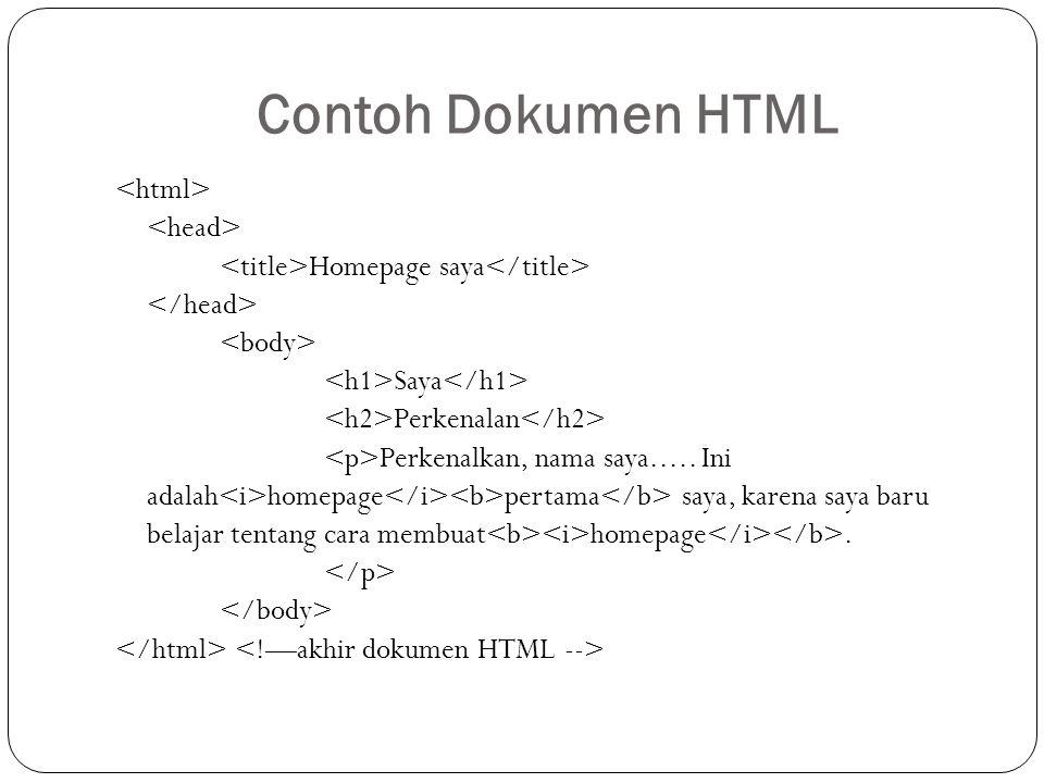 Contoh Dokumen HTML Homepage saya Saya Perkenalan Perkenalkan, nama saya..... Ini adalah homepage pertama saya, karena saya baru belajar tentang cara