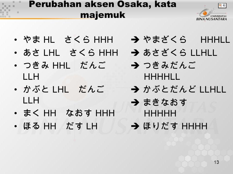 13 Perubahan aksen Osaka, kata majemuk やま HL さくら HHH あさ LHL さくら HHH つきみ HHL だんご LLH かぶと LHL だんご LLH まく HH なおす HHH ほる HH だす LH  やまざくら HHHLL  あさざくら LL