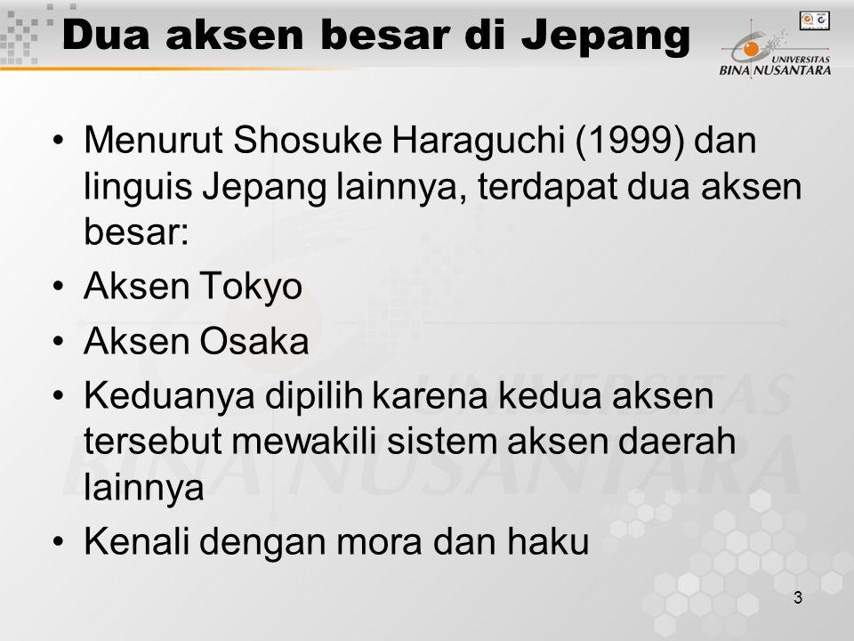 3 Dua aksen besar di Jepang Menurut Shosuke Haraguchi (1999) dan linguis Jepang lainnya, terdapat dua aksen besar: Aksen Tokyo Aksen Osaka Keduanya di