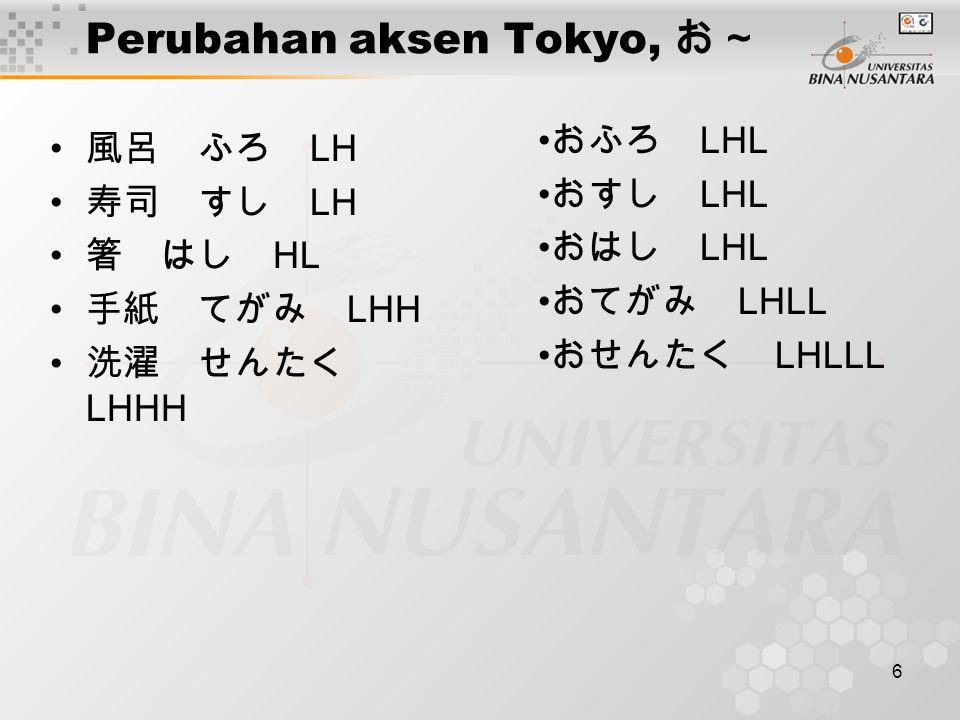 7 Perubahan aksen Tokyo, ~ます 進む すすむ LHH 借りる かりる LHH 隠す かくす LHL 建てる たてる LHL すすみます LHHHL かります LHHL かくします LHHHL たてます LHHL