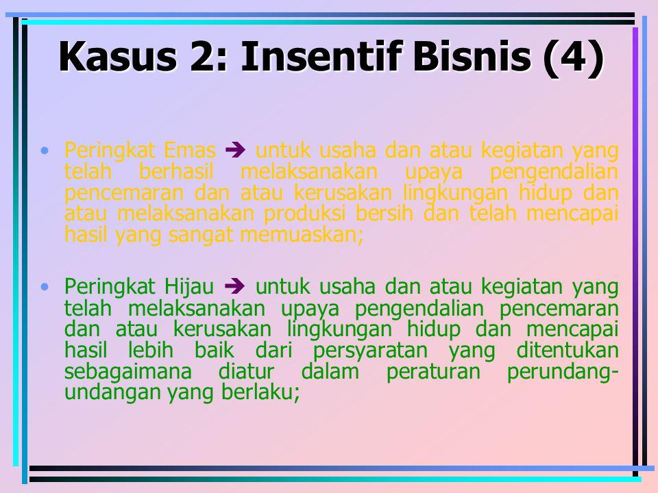Kasus 2: Insentif Bisnis (4) Peringkat Emas  untuk usaha dan atau kegiatan yang telah berhasil melaksanakan upaya pengendalian pencemaran dan atau ke