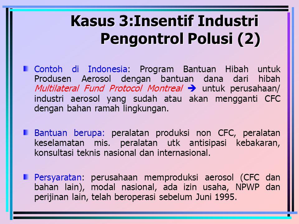 Kasus 3:Insentif Industri Pengontrol Polusi (2) Kasus 3:Insentif Industri Pengontrol Polusi (2) Contoh di Indonesia: Program Bantuan Hibah untuk Produ