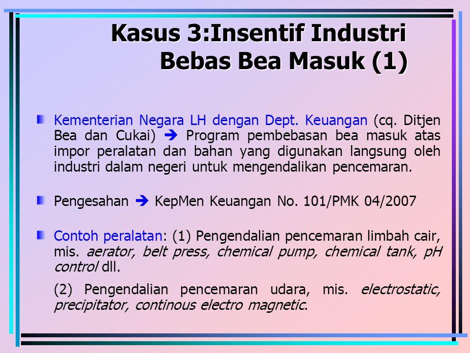 Kasus 3:Insentif Industri Bebas Bea Masuk (1) Kasus 3:Insentif Industri Bebas Bea Masuk (1) Kementerian Negara LH dengan Dept. Keuangan (cq. Ditjen Be