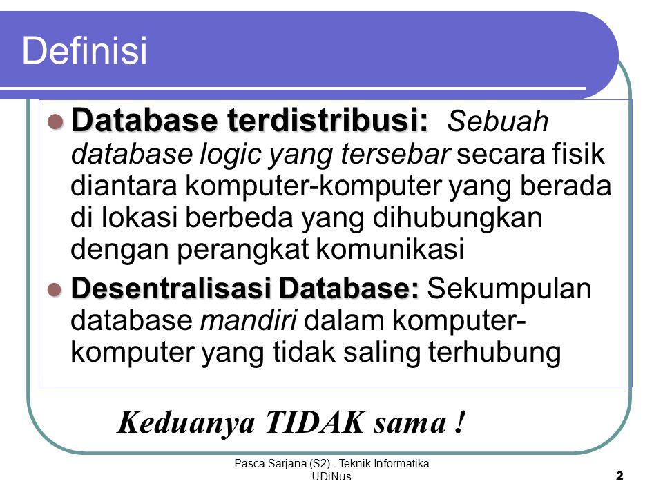 Pasca Sarjana (S2) - Teknik Informatika UDiNus 2 Database terdistribusi: Database terdistribusi: Sebuah database logic yang tersebar secara fisik diantara komputer-komputer yang berada di lokasi berbeda yang dihubungkan dengan perangkat komunikasi Desentralisasi Database: Desentralisasi Database: Sekumpulan database mandiri dalam komputer- komputer yang tidak saling terhubung Definisi Keduanya TIDAK sama !