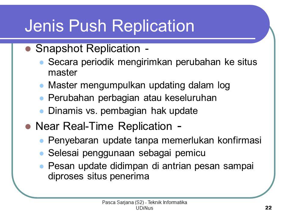 Pasca Sarjana (S2) - Teknik Informatika UDiNus 22 Jenis Push Replication Snapshot Replication - Secara periodik mengirimkan perubahan ke situs master Master mengumpulkan updating dalam log Perubahan perbagian atau keseluruhan Dinamis vs.