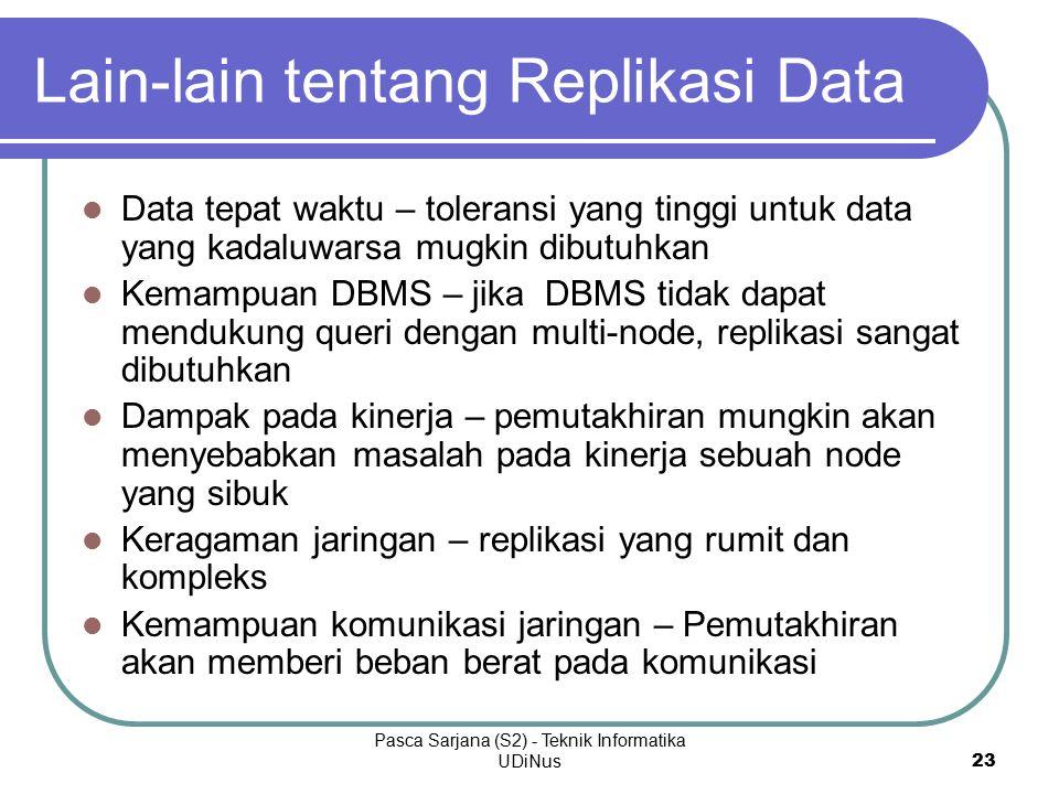 Pasca Sarjana (S2) - Teknik Informatika UDiNus 23 Lain-lain tentang Replikasi Data Data tepat waktu – toleransi yang tinggi untuk data yang kadaluwarsa mugkin dibutuhkan Kemampuan DBMS – jika DBMS tidak dapat mendukung queri dengan multi-node, replikasi sangat dibutuhkan Dampak pada kinerja – pemutakhiran mungkin akan menyebabkan masalah pada kinerja sebuah node yang sibuk Keragaman jaringan – replikasi yang rumit dan kompleks Kemampuan komunikasi jaringan – Pemutakhiran akan memberi beban berat pada komunikasi