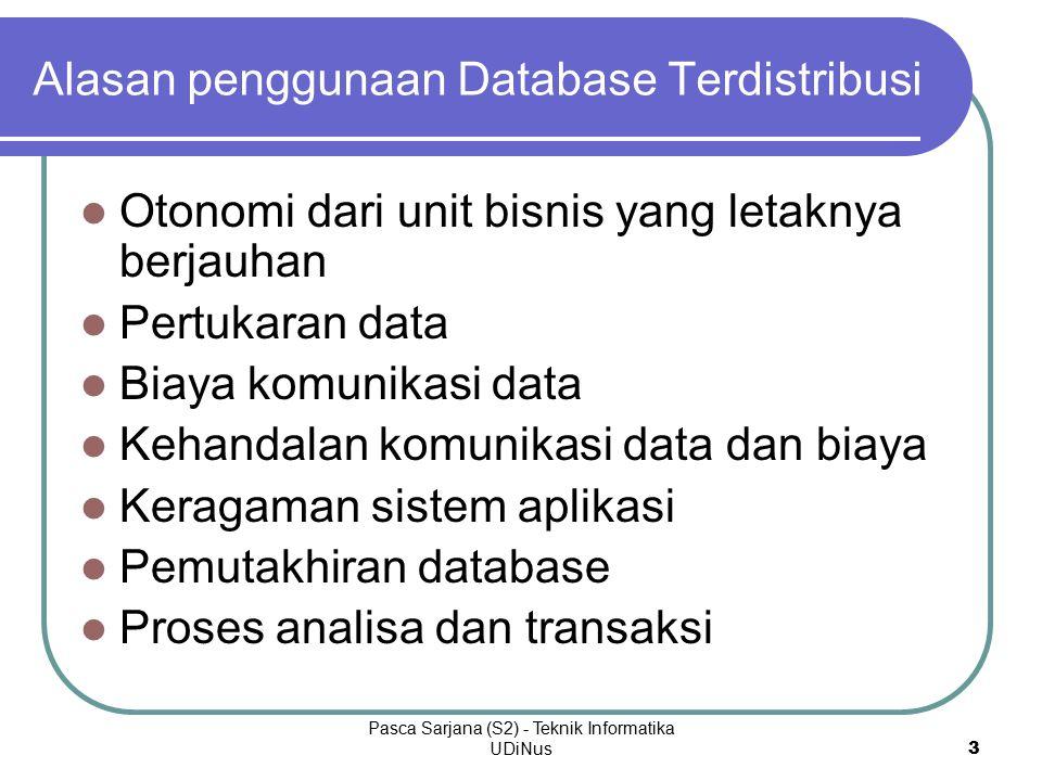 Pasca Sarjana (S2) - Teknik Informatika UDiNus 3 Alasan penggunaan Database Terdistribusi Otonomi dari unit bisnis yang letaknya berjauhan Pertukaran data Biaya komunikasi data Kehandalan komunikasi data dan biaya Keragaman sistem aplikasi Pemutakhiran database Proses analisa dan transaksi