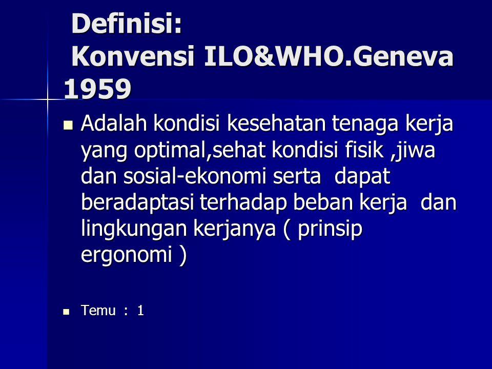 Definisi: Konvensi ILO&WHO.Geneva 1959 Definisi: Konvensi ILO&WHO.Geneva 1959 Adalah kondisi kesehatan tenaga kerja yang optimal,sehat kondisi fisik,j