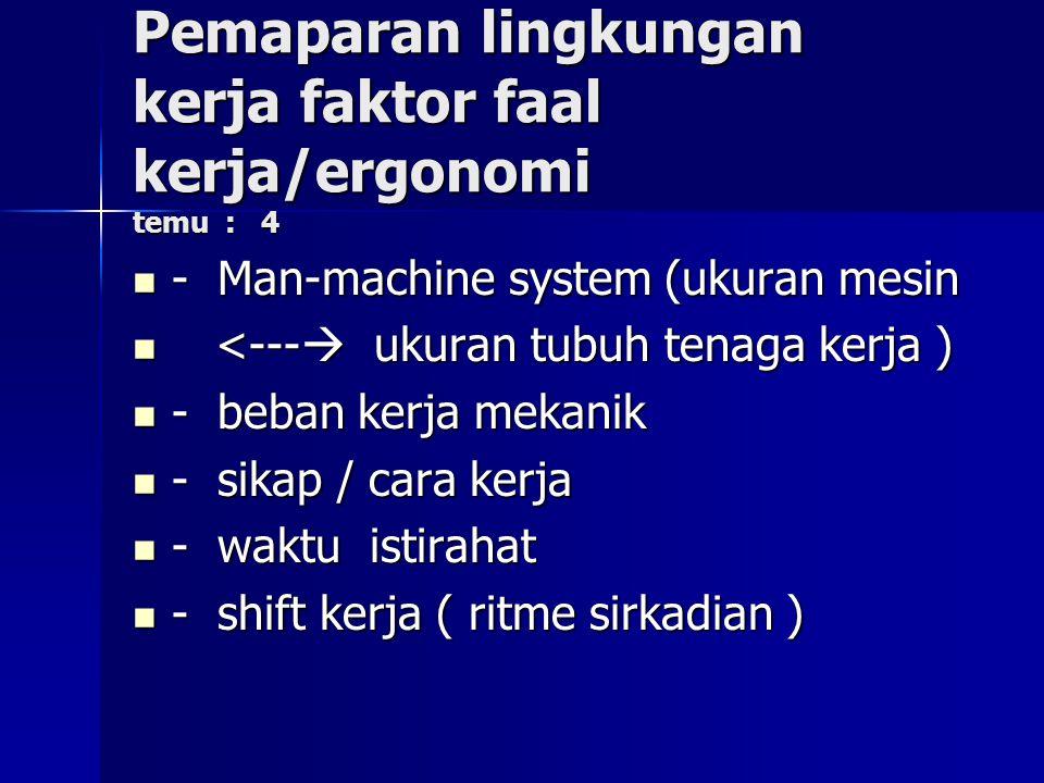 Pemaparan lingkungan kerja faktor faal kerja/ergonomi temu : 4 - Man-machine system (ukuran mesin - Man-machine system (ukuran mesin <---  ukuran tub