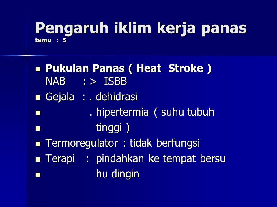 Pengaruh iklim kerja panas temu : 5 Pukulan Panas ( Heat Stroke ) NAB : > ISBB Pukulan Panas ( Heat Stroke ) NAB : > ISBB Gejala :. dehidrasi Gejala :