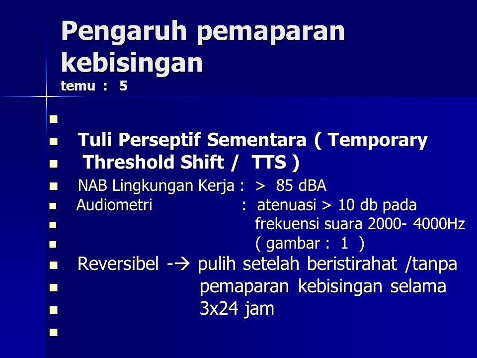 Pengaruh pemaparan kebisingan temu : 5 Tuli Perseptif Sementara ( Temporary Tuli Perseptif Sementara ( Temporary Threshold Shift / TTS ) Threshold Shi
