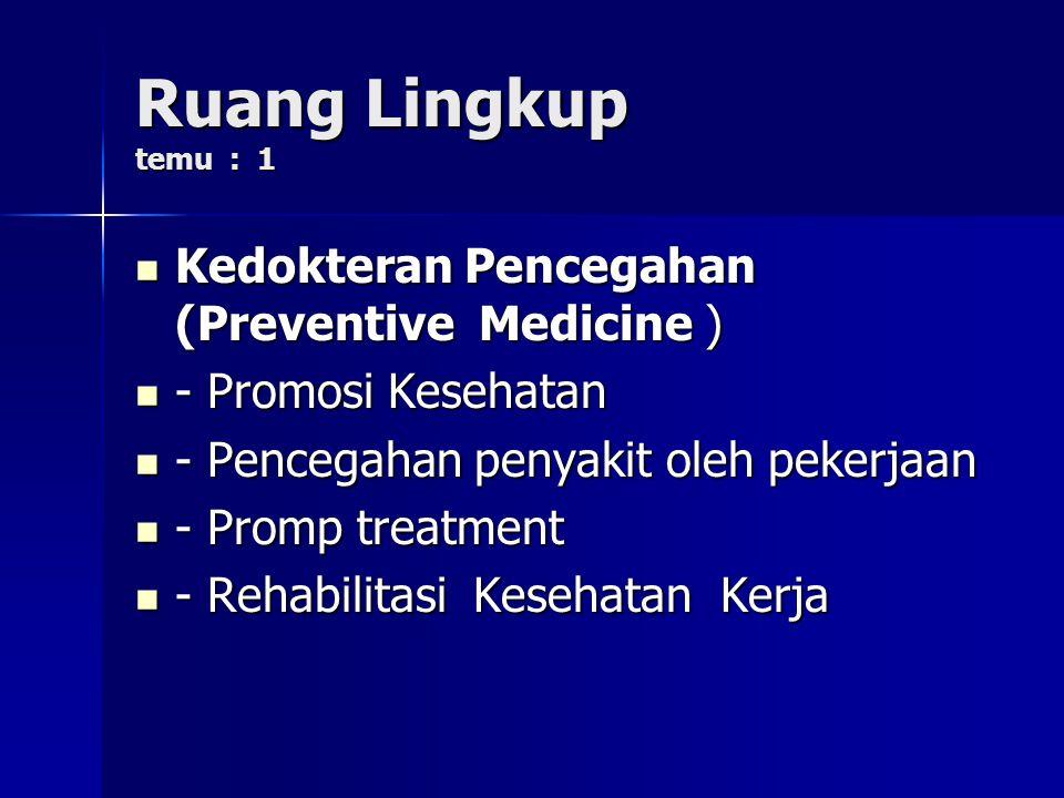 Ruang Lingkup temu : 1 Kedokteran Pencegahan (Preventive Medicine ) Kedokteran Pencegahan (Preventive Medicine ) - Promosi Kesehatan - Promosi Kesehat