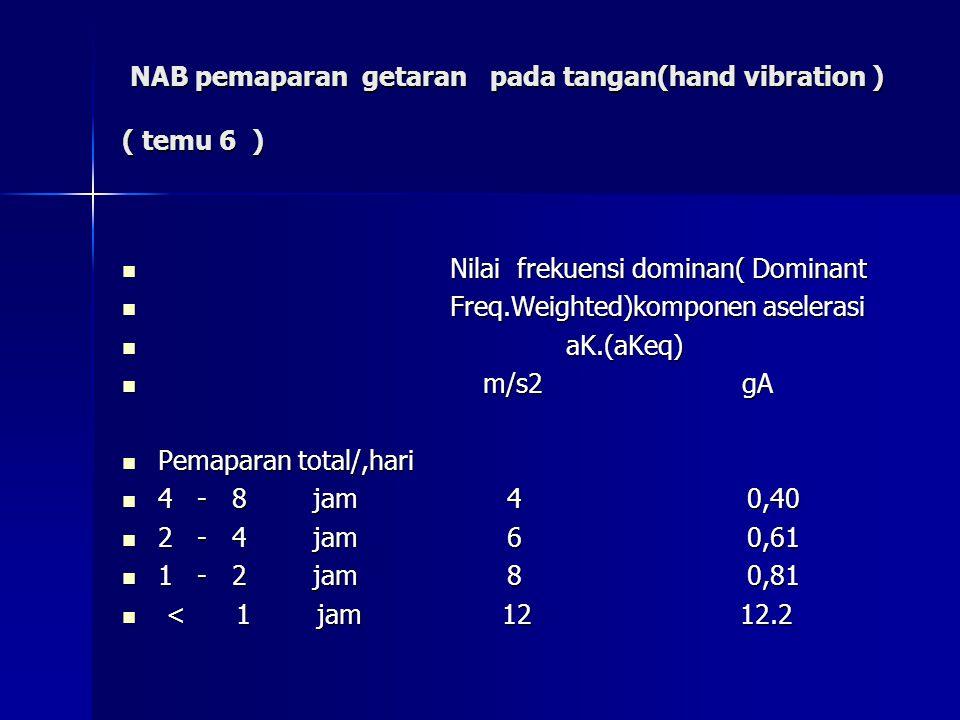 NAB pemaparan getaran pada tangan(hand vibration ) ( temu 6 ) NAB pemaparan getaran pada tangan(hand vibration ) ( temu 6 ) Nilai frekuensi dominan( D