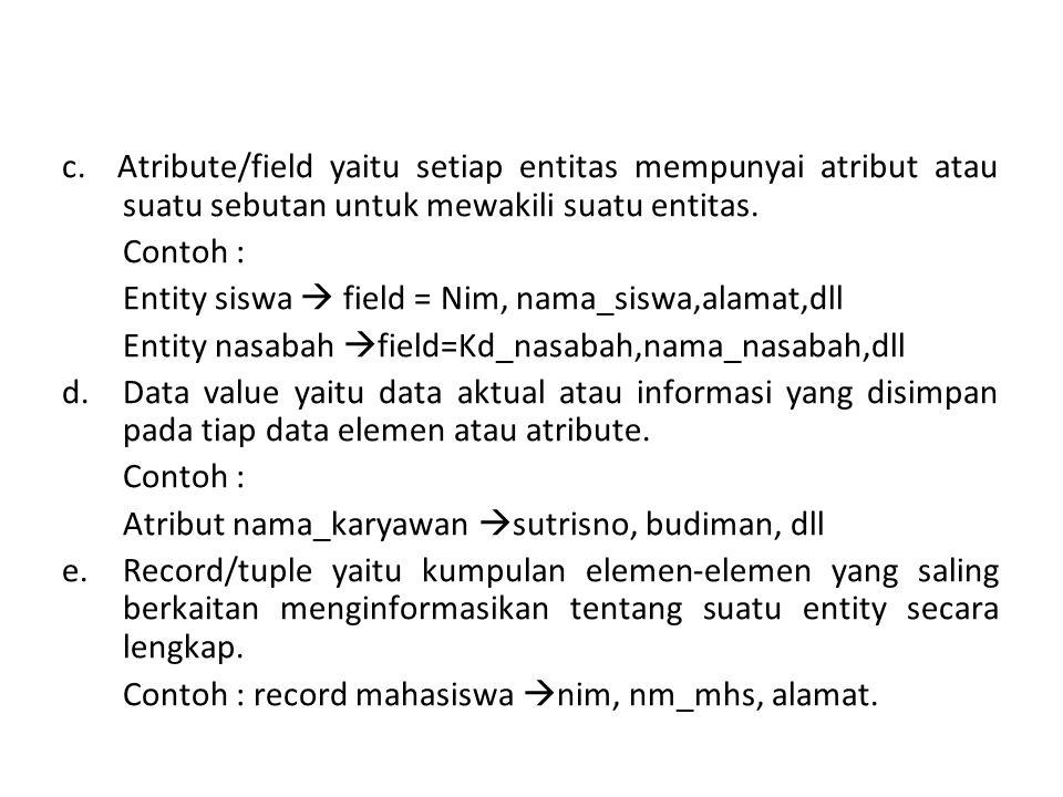 c. Atribute/field yaitu setiap entitas mempunyai atribut atau suatu sebutan untuk mewakili suatu entitas. Contoh : Entity siswa  field = Nim, nama_si