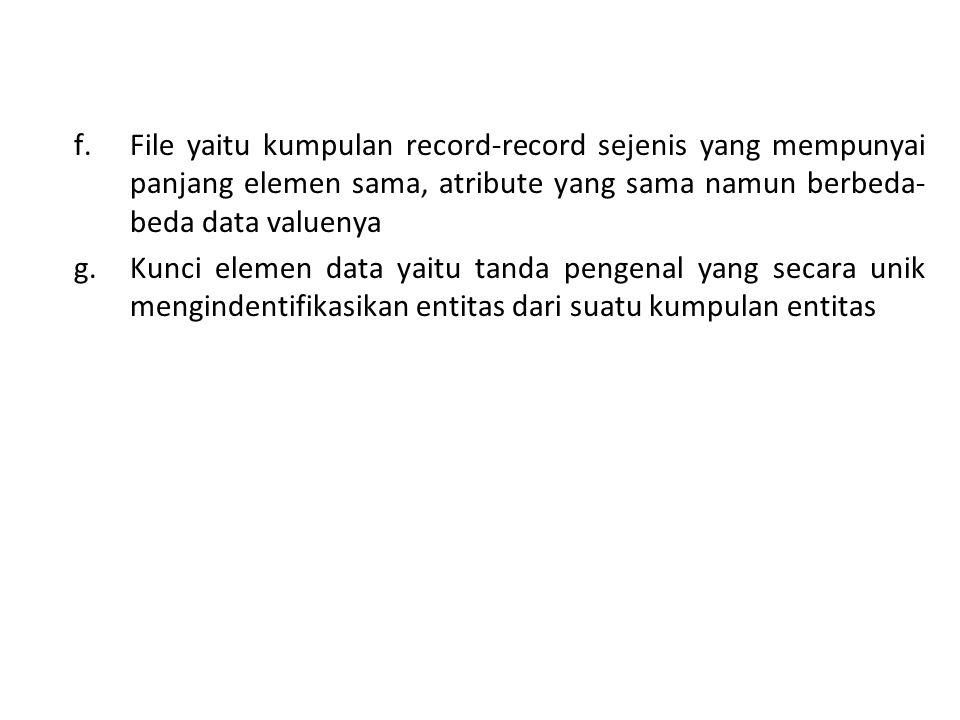 f.File yaitu kumpulan record-record sejenis yang mempunyai panjang elemen sama, atribute yang sama namun berbeda- beda data valuenya g. Kunci elemen d