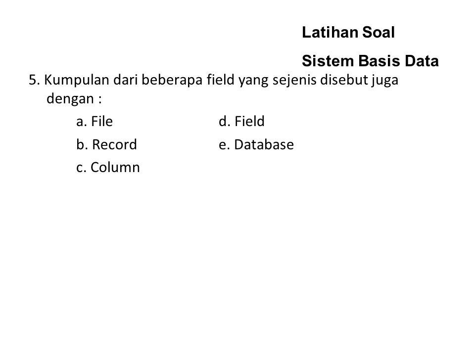 Latihan Soal Sistem Basis Data 5. Kumpulan dari beberapa field yang sejenis disebut juga dengan : a. Filed. Field b. Recorde. Database c. Column
