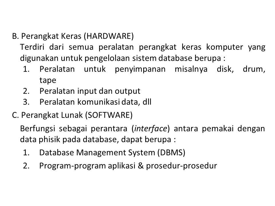 B. Perangkat Keras (HARDWARE) Terdiri dari semua peralatan perangkat keras komputer yang digunakan untuk pengelolaan sistem database berupa : 1.Perala