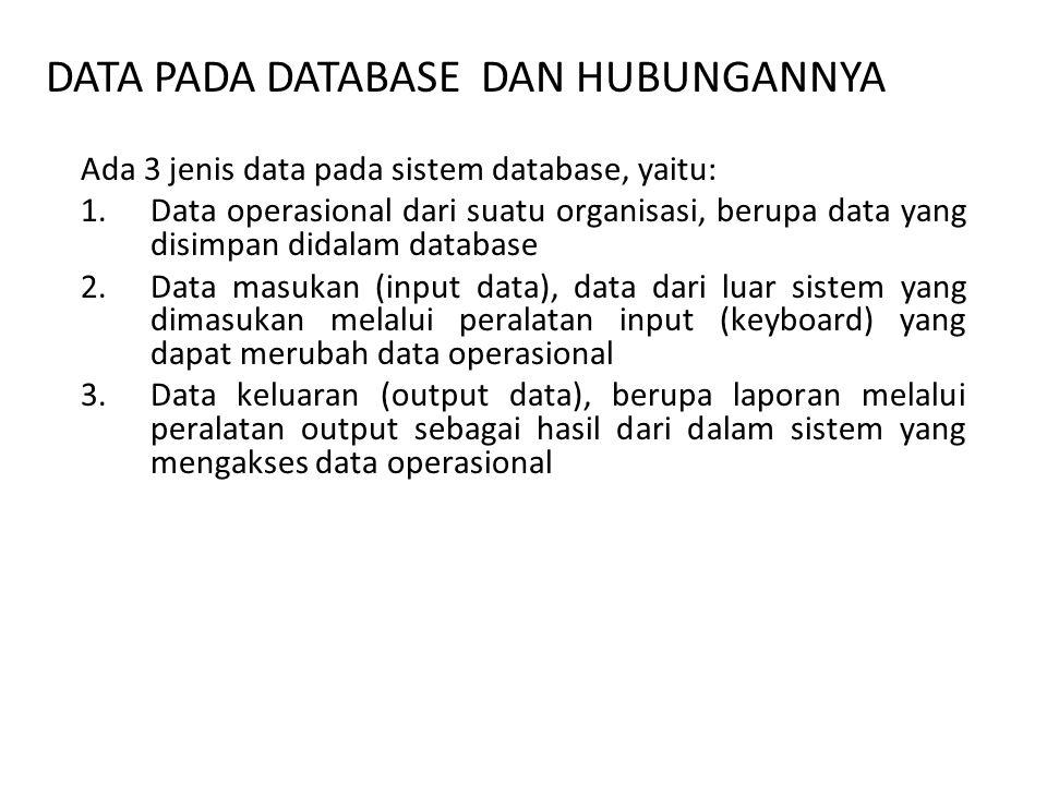 Ada 3 jenis data pada sistem database, yaitu: 1.Data operasional dari suatu organisasi, berupa data yang disimpan didalam database 2.Data masukan (input data), data dari luar sistem yang dimasukan melalui peralatan input (keyboard) yang dapat merubah data operasional 3.Data keluaran (output data), berupa laporan melalui peralatan output sebagai hasil dari dalam sistem yang mengakses data operasional DATA PADA DATABASE DAN HUBUNGANNYA