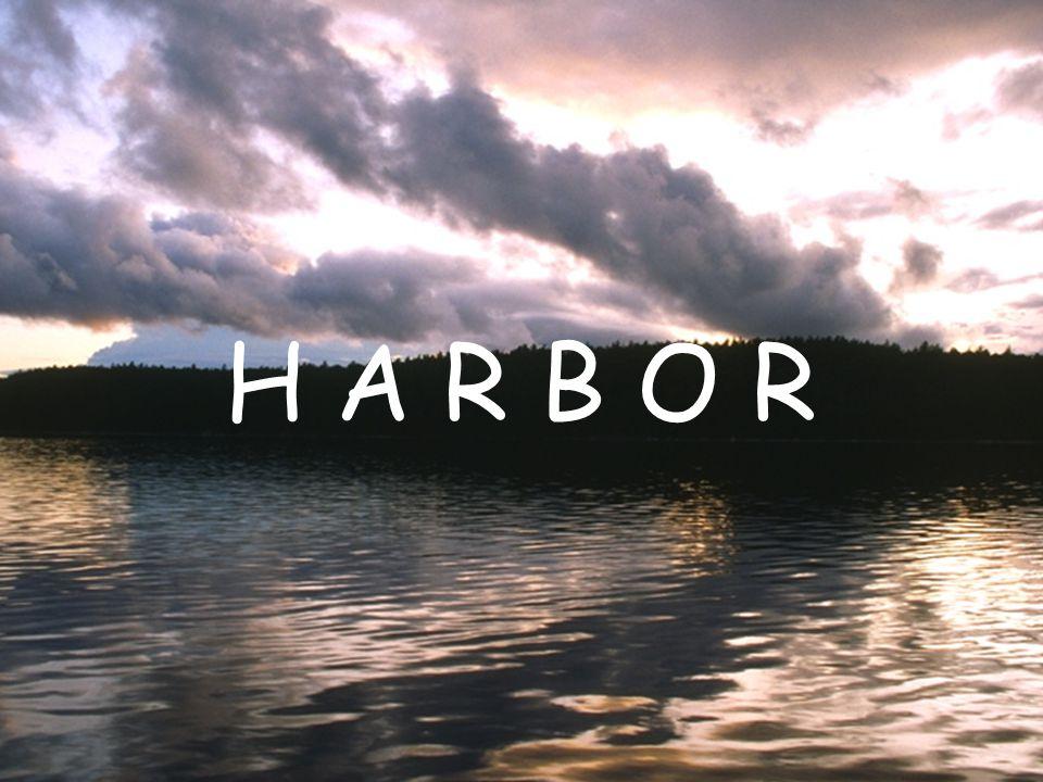 Two entrance harbor Ship enters Ship leaves