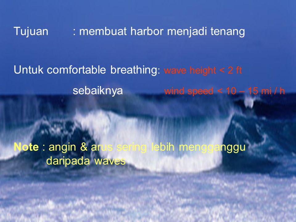 Tujuan: membuat harbor menjadi tenang Untuk comfortable breathing : wave height < 2 ft sebaiknya wind speed < 10 – 15 mi / h Note : angin & arus sering lebih mengganggu daripada waves