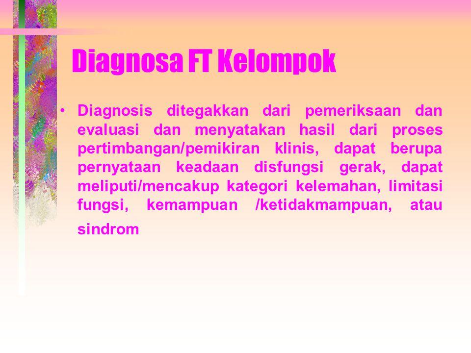 Diagnosa FT Kelompok Diagnosis ditegakkan dari pemeriksaan dan evaluasi dan menyatakan hasil dari proses pertimbangan/pemikiran klinis, dapat berupa pernyataan keadaan disfungsi gerak, dapat meliputi/mencakup kategori kelemahan, limitasi fungsi, kemampuan /ketidakmampuan, atau sindrom