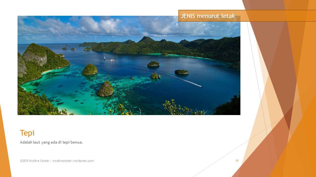 Tepi Adalah laut yang ada di tepi benua. JENIS menurut letak ©2015 McAlive Center | mcalivecenter.wordpress.com19