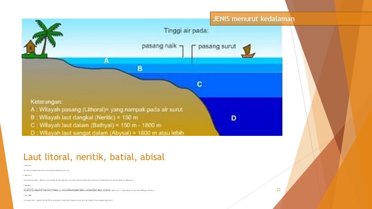 Laut litoral, neritik, batial, abisal 1. Zona Litoral Yaitu zona yang merupakan batas antara wilayah pasang naik dan pasang surut air laut 2. Zona Ner