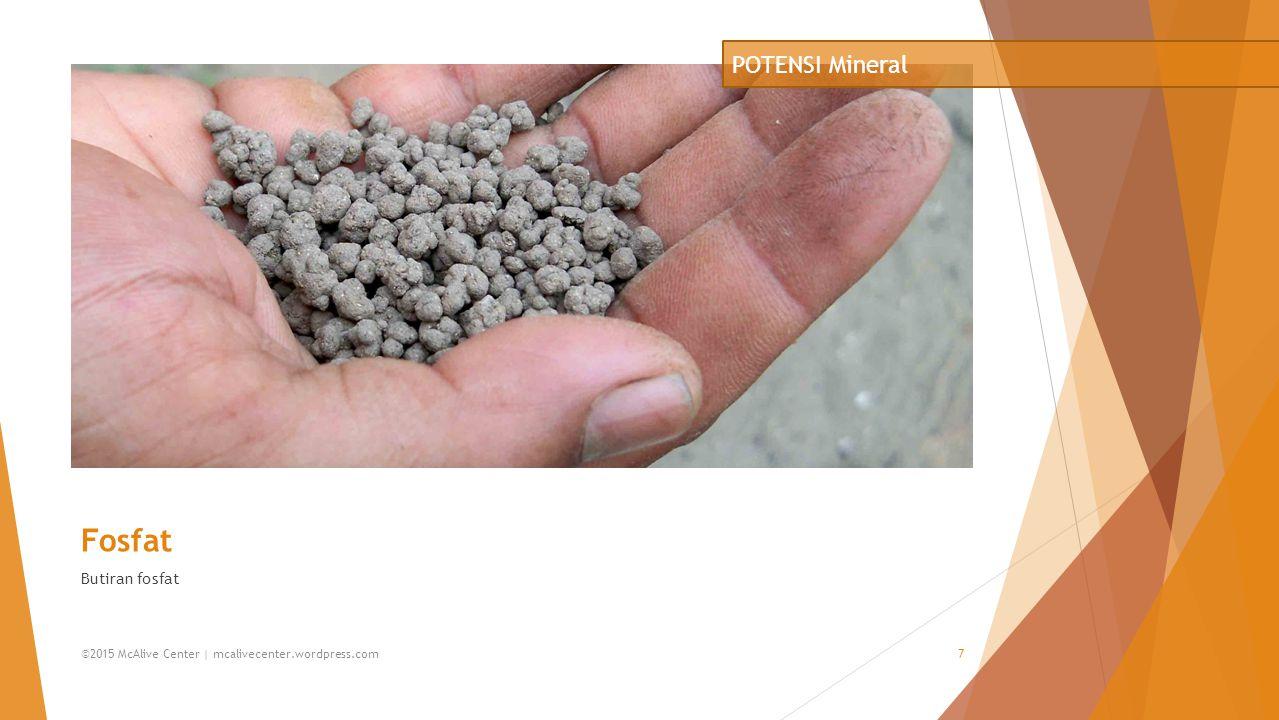 Fosfat Butiran fosfat POTENSI Mineral ©2015 McAlive Center | mcalivecenter.wordpress.com7